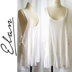 Elan white sheer side tie tank dress